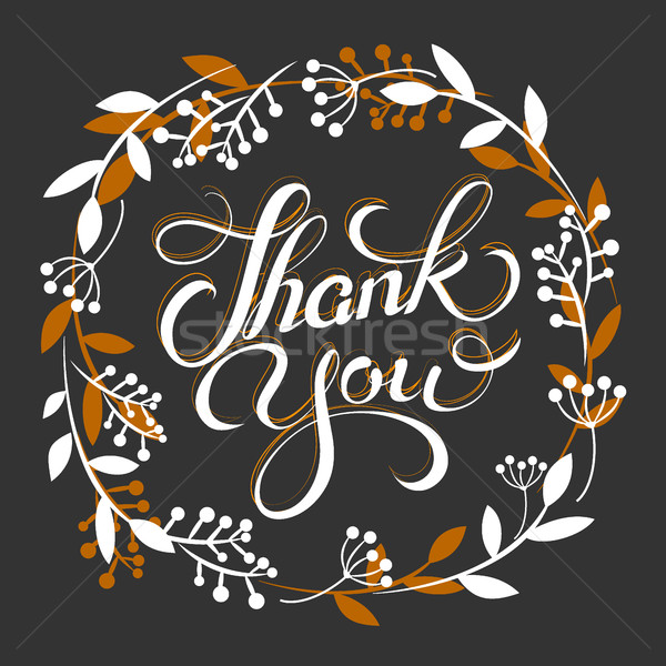 Stock photo: Thank you golden lettering card with wreath Vector illustration