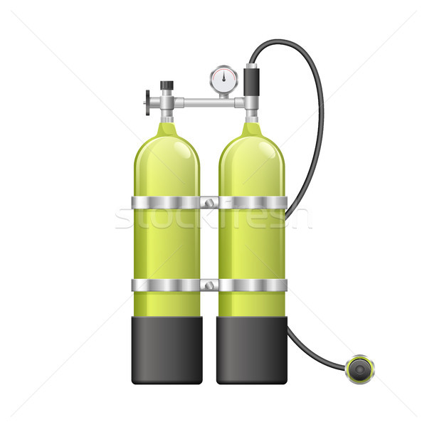 Aqualang or Scuba Oxygen Balloons. Vector illustration of yellow Diving Equipment. Underwater sport  Stock photo © MarySan