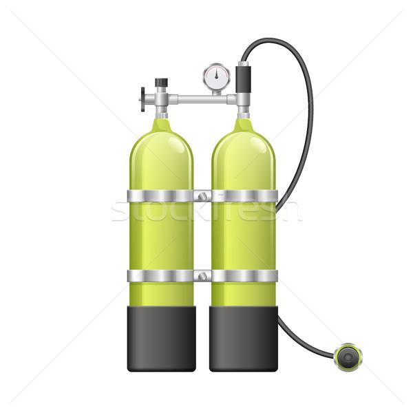 Búvár oxigén léggömbök citromsárga búvárkodik felszerlés Stock fotó © MarySan