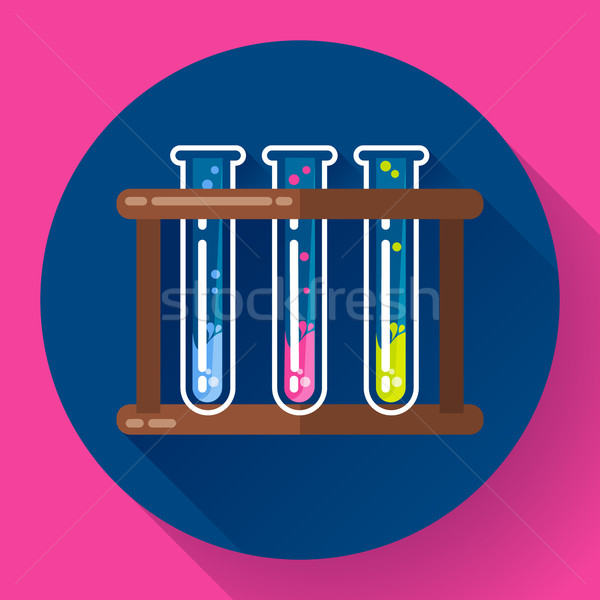 set test tubes bubbling sparkling liquid icon. Flat 2.0 design style. Stock photo © MarySan