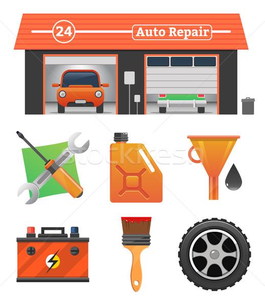 Stock photo: Auto repair icons set