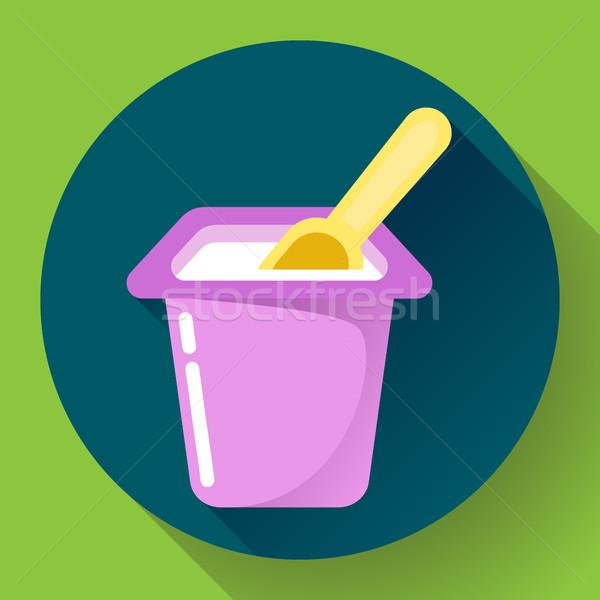 yogurt cup with a spoon flat icon Vector Illustration Stock photo © MarySan