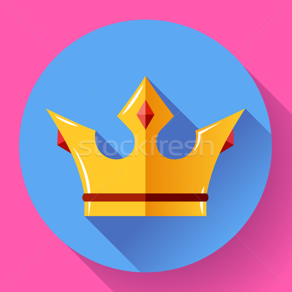 Gold crown with rubies. Flat design style. Stock photo © MarySan