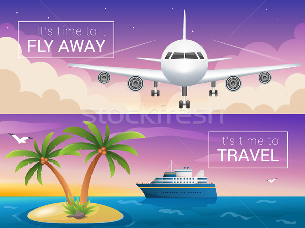 Vector travel banners set. Passenger airplane in the clouds., cruise liner Stock photo © MarySan