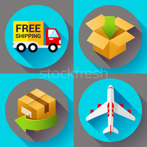 Shipping and delivery icons set. Flat design style. Stock photo © MarySan