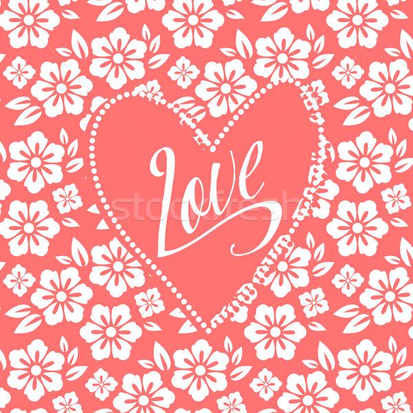 Cartolina turchese cuore bianco floreale pattern Foto d'archivio © MarySan