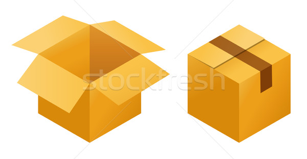 Icons of empty and  closed post cargo cardboard box isolated on white background Stock photo © MarySan