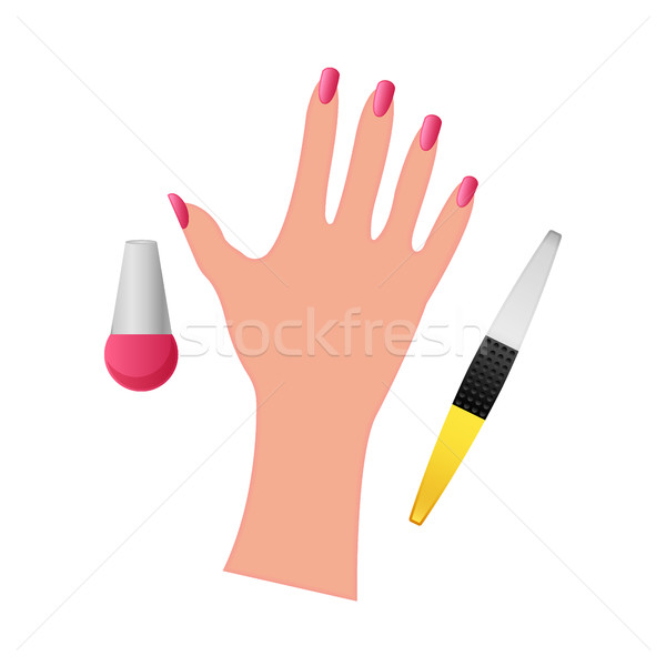 hand with nail polish on a white background Stock photo © MarySan