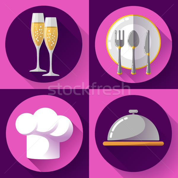 Restaurant icons set flat style Cooking and kitchen, serving food. Stock photo © MarySan