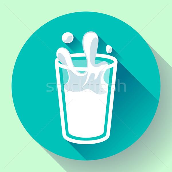 Stockfoto: Glas · melk · splash · vector · icon · stijl