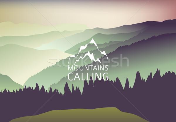 Zielone zachód słońca górskich wektora podpisania góry Zdjęcia stock © MarySan