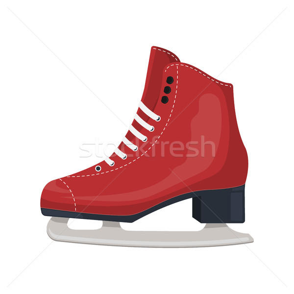 Red classic ice figure skates. Sport equipment. Side view. Vector Illustration isolated on white bac Stock photo © MarySan
