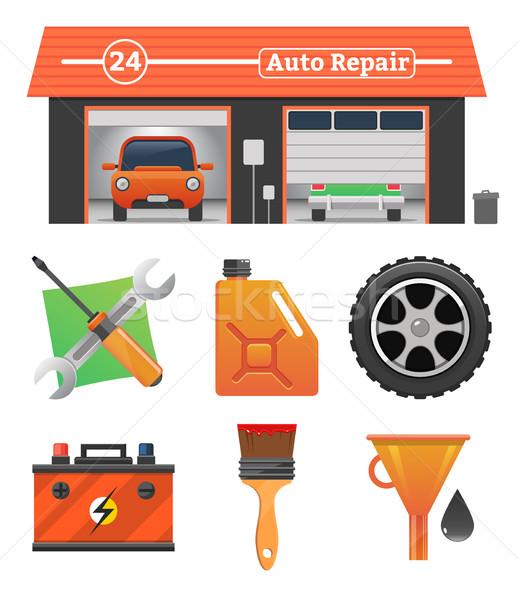 Auto repair icons set Stock photo © MarySan