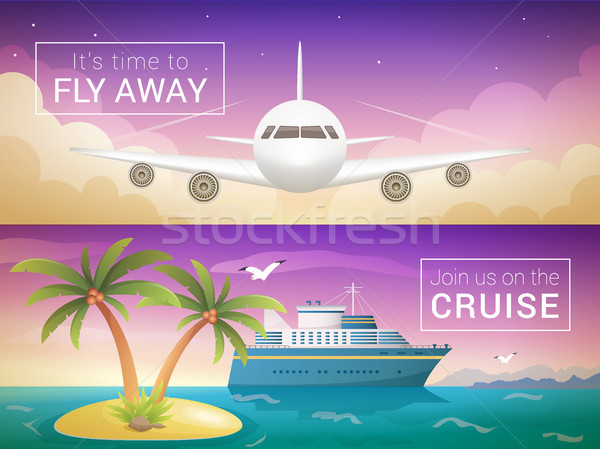 Vector travel banners set. Passenger airplane in the clouds., ocean sea cruise liner in the islands Stock photo © MarySan