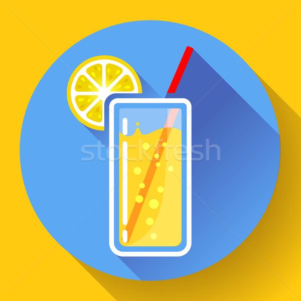 glass of juice with lemon icon flat 2.0 designe style long shadow Stock photo © MarySan