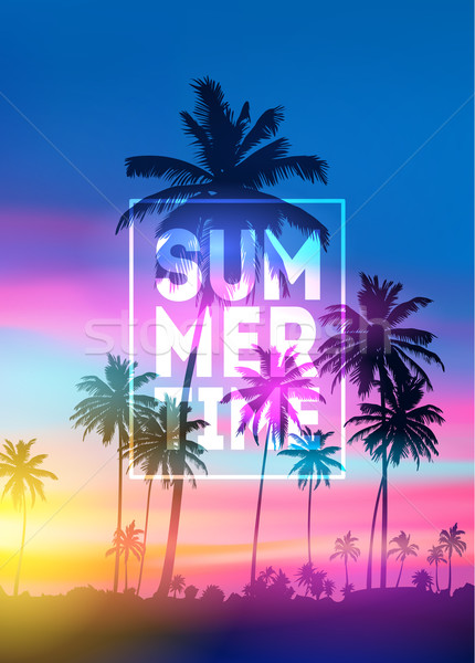 sunset blurred background with typography text vector. Summer Time poster Stock photo © MarySan