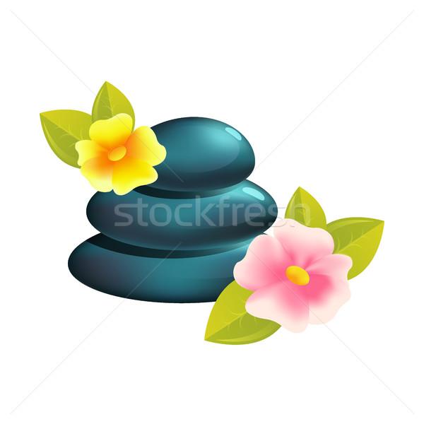 Spa kamienie medycznych terapii piękna opieki zdrowotnej Zdjęcia stock © MarySan