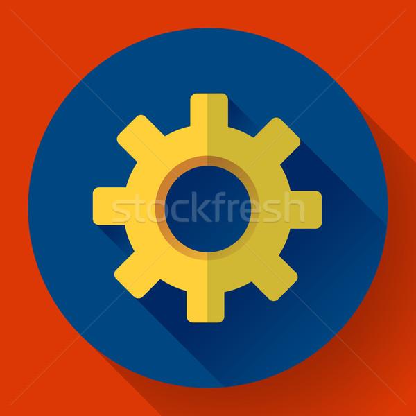 Cogwheel Icon. Develop symbol. Flat design style Stock photo © MarySan