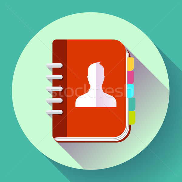 Adress phone book icon, notebook icon. Flat design style Stock photo © MarySan