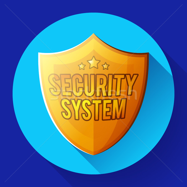 Gold shield icon - protection symbol. Flat design style. Stock photo © MarySan