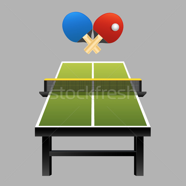 Table tennis rackets with ball on table vector illustration on dark background Stock photo © MarySan