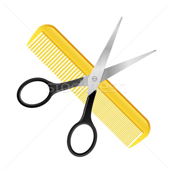 Nożyczki grzebień odizolowany biały fryzjer projektu Zdjęcia stock © MarySan