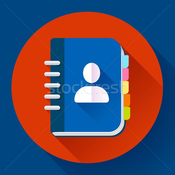 Address phone book icon, notebook . Flat design style Stock photo © MarySan