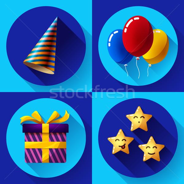Celebrating birthday party vector flat icon set. Stock photo © MarySan