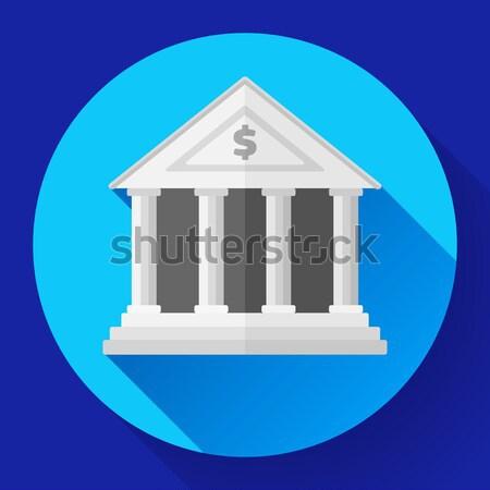 Witte bank icon lang schaduw ontwerp Stockfoto © MarySan
