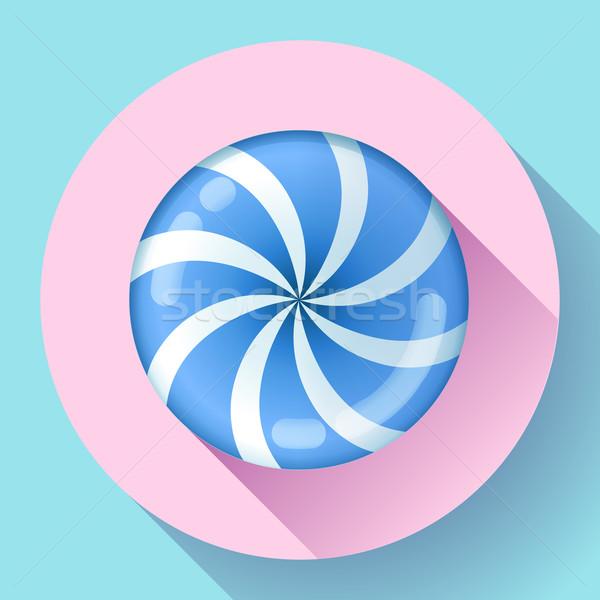 Sweet lollipop candie icon. Flat design style. Stock photo © MarySan