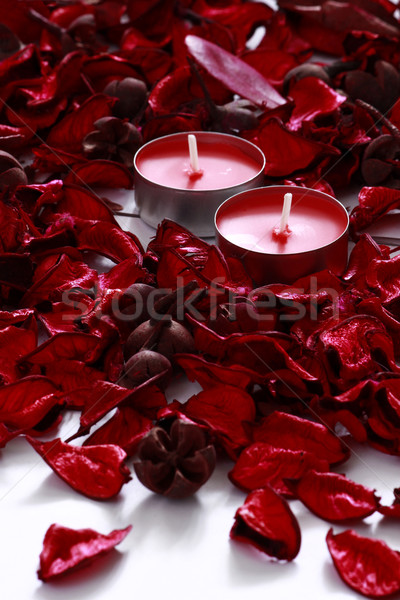 Red roses świece czerwony różowy róż biały Zdjęcia stock © MarySan