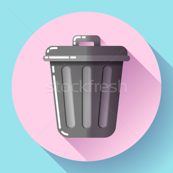 Trash can icon Recycle Bin Garbage Flat Vector Illustration Stock photo © MarySan