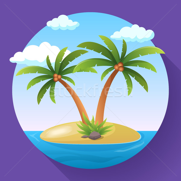 Stock photo: Summer Vacation Holiday Tropical Ocean Island With Palm Tree Flat Vector Illustration