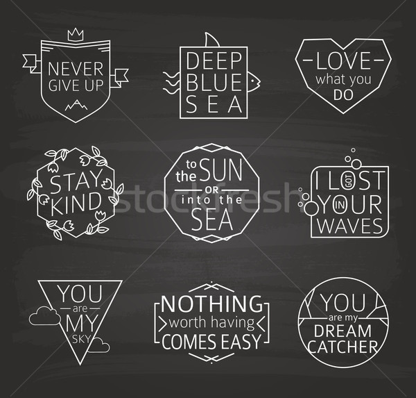 Set of Quotes Typographical Posters, line Design. Chalkboard Background Stock photo © MarySan