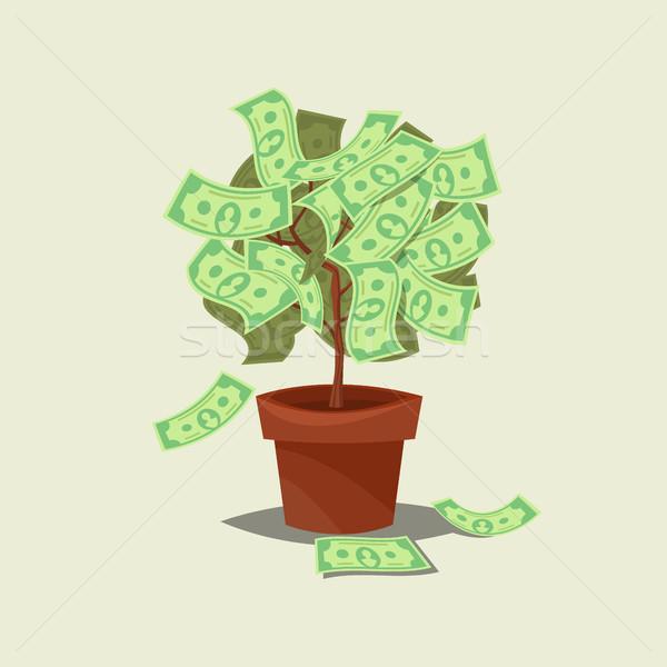 Money tree ikon yalıtılmış kâğıt dizayn yaprak Stok fotoğraf © MarySan