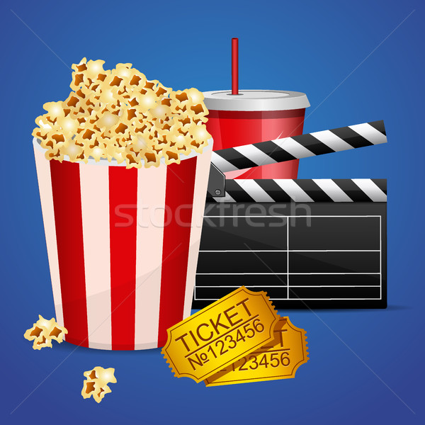 Realistic cinema movie poster template with film clapper, tickets, popcorn and cola Stock photo © MarySan