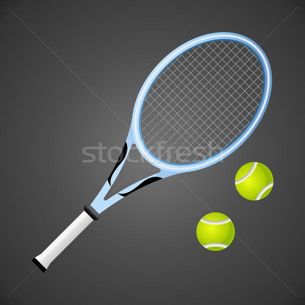 Tennis racket and balls isolated on dark background. Vector illustration Stock photo © MarySan
