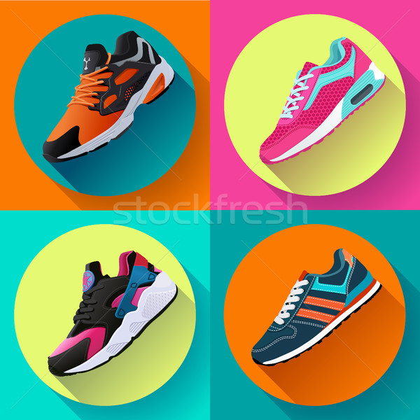 fitness sneakers shoes for training running shoe flat design with long shadow. Sport shoes set Stock photo © MarySan