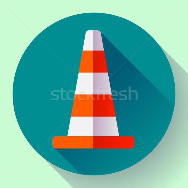 Traffic cone color icon. under construction symbol. Flat design style. Stock photo © MarySan