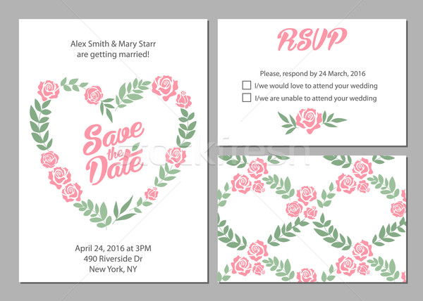 Invitation de mariage carte Daisy fleur modèles Photo stock © MarySan