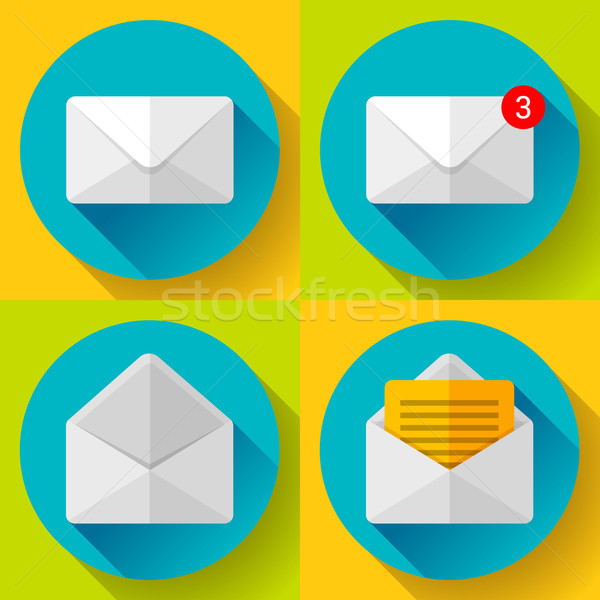 Stock photo: Set Mail Icon Open Envelope new letter message notification Flat 2.0 design.