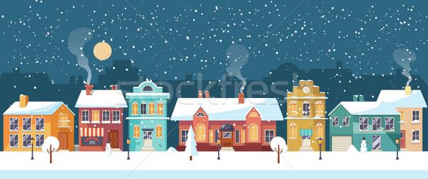 Snowy Christmas night in the cozy town, panorama Stock photo © MarySan