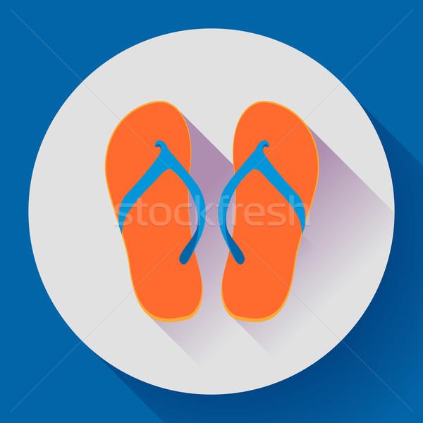 Plaj sandalet terlik ikon uzun gölge Stok fotoğraf © MarySan