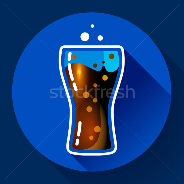 Cola splash soda glas bubbels icon Stockfoto © MarySan