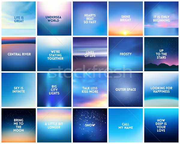 Stock photo: BIG set of 20 square blurred nature dark blue backgrounds. With various quotes