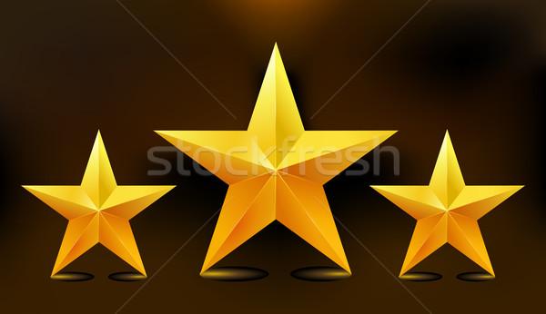 Ilustração três ouro estrelas abstrato luz Foto stock © MarySan