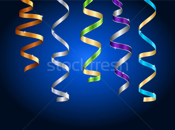 Stock photo: Multicolor curling stream ribbons on dark Background.