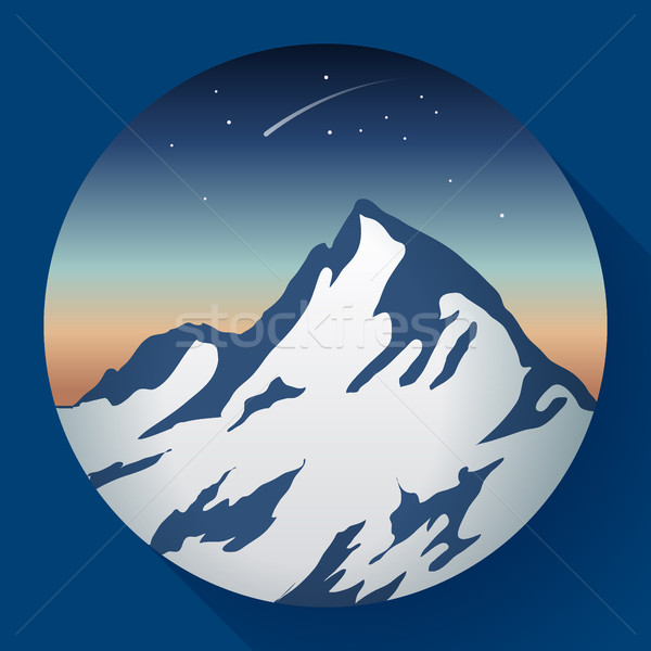 mountain peak at night and Comet icon Stock photo © MarySan