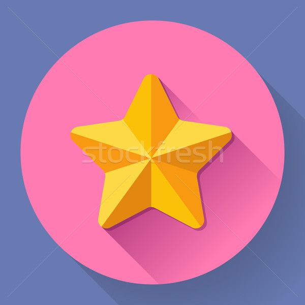 Single golden star shine. Flat designed style.  Stock photo © MarySan