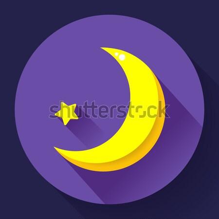 Moon and stars at night - Vector icon. Flat design style Stock photo © MarySan